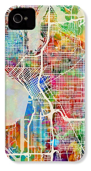 Seattle Washington Street Map IPhone 4s Case by Michael Tompsett