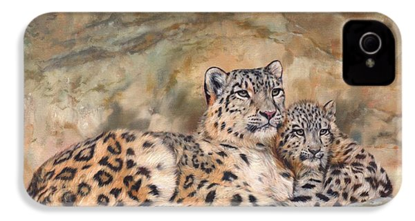 Snow Leopards IPhone 4s Case by David Stribbling