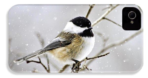 Snowy Chickadee Bird IPhone 4s Case by Christina Rollo