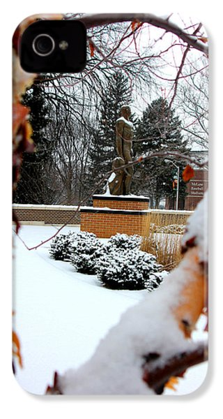 Sparty In The Winter IPhone 4s Case by John McGraw