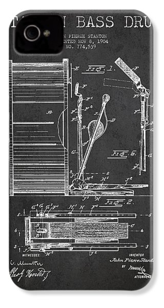 Stanton Bass Drum Patent Drawing From 1904 - Dark IPhone 4s Case
