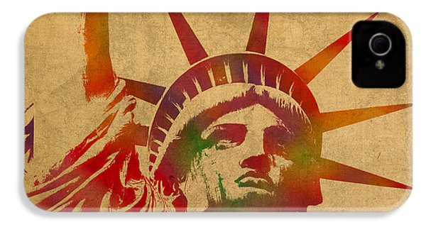 Statue Of Liberty Watercolor Portrait No 2 IPhone 4s Case by Design Turnpike