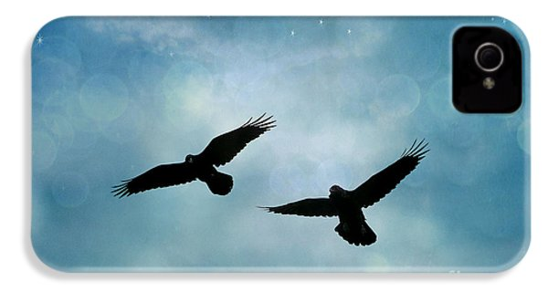 Surreal Ravens Crows Flying Blue Sky Stars IPhone 4s Case by Kathy Fornal