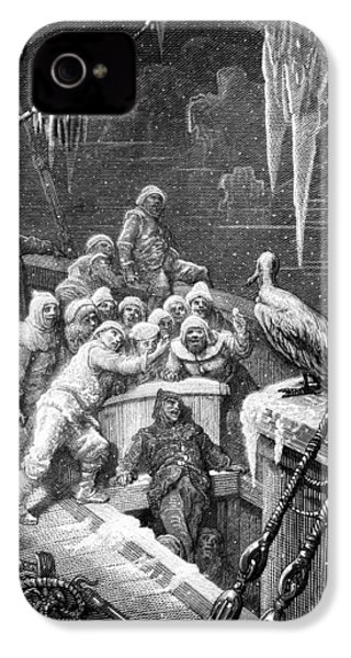 The Albatross Being Fed By The Sailors On The The Ship Marooned In The Frozen Seas Of Antartica IPhone 4s Case by Gustave Dore