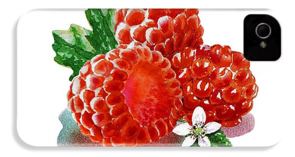 Three Happy Raspberries IPhone 4s Case by Irina Sztukowski