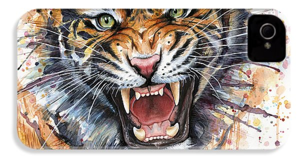 Tiger Watercolor Portrait IPhone 4s Case by Olga Shvartsur