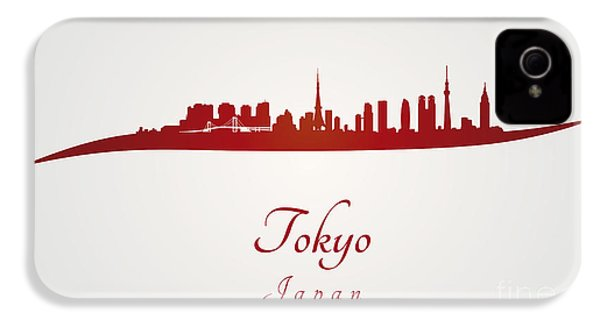 Tokyo Skyline In Red IPhone 4s Case by Pablo Romero