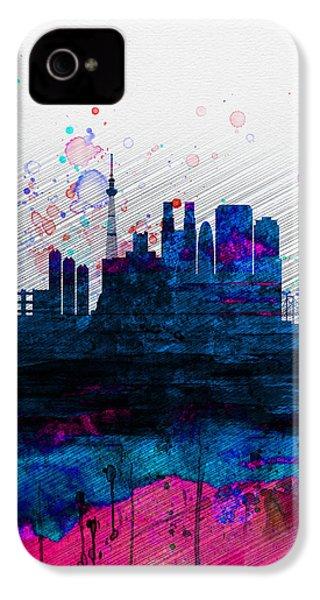 Tokyo Watercolor Skyline 2 IPhone 4s Case by Naxart Studio