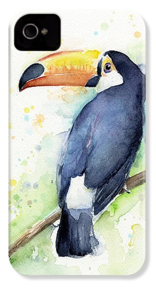 Toucan Watercolor IPhone 4s Case by Olga Shvartsur