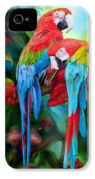 Tropic Spirits - Macaws IPhone 4s Case by Carol Cavalaris