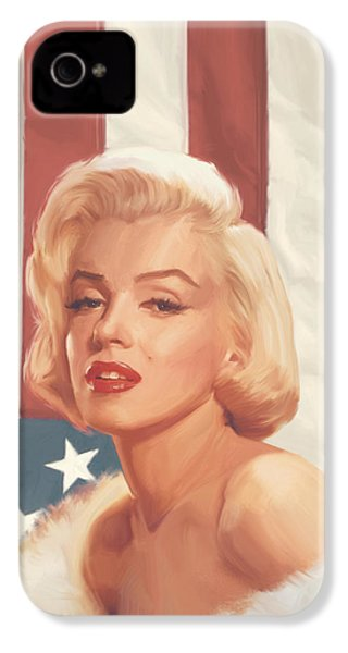True Blue Marilyn In Flag IPhone 4s Case by Chris Consani