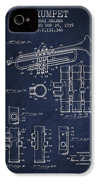 Trumpet Patent From 1939 - Blue IPhone 4s Case by Aged Pixel