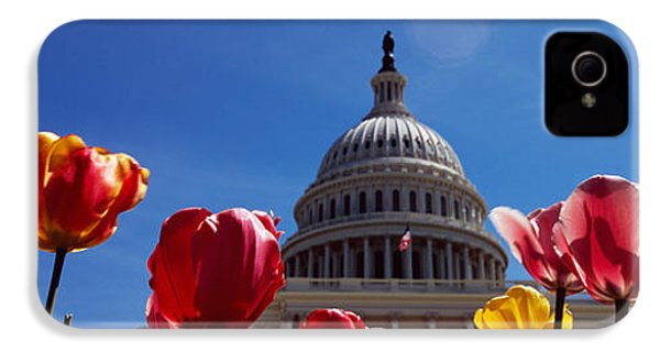 Tulips With A Government Building IPhone 4s Case by Panoramic Images