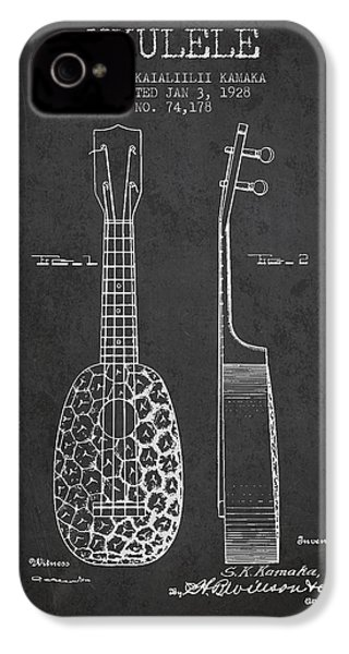 Ukulele Patent Drawing From 1928 - Dark IPhone 4s Case
