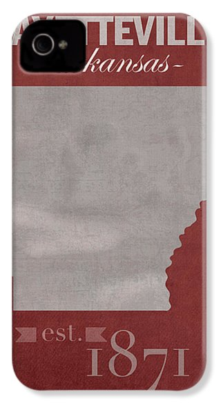 University Of Arkansas Razorbacks Fayetteville College Town State Map Poster Series No 013 IPhone 4s Case by Design Turnpike