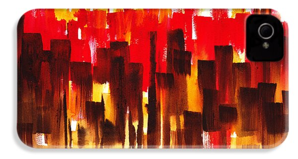 IPhone 4s Case featuring the painting Urban Abstract Glowing City by Irina Sztukowski