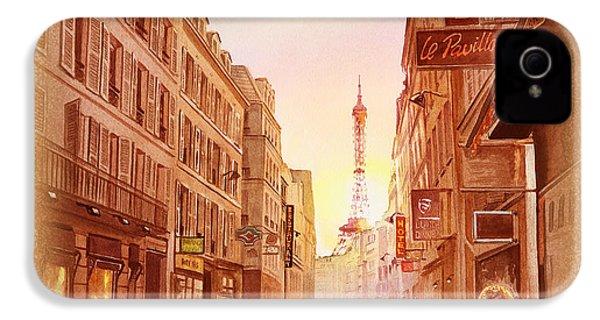 IPhone 4s Case featuring the painting Vintage Paris Street Eiffel Tower View by Irina Sztukowski