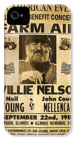 Vintage Willie Nelson 1985 Farm Aid Poster IPhone 4s Case by John Stephens