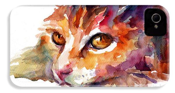 Watercolor Orange Tubby Cat IPhone 4s Case