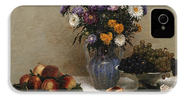 White Roses And Chrysanthemums IPhone 4s Case by Ignace Henri Jean Fantin-Latour