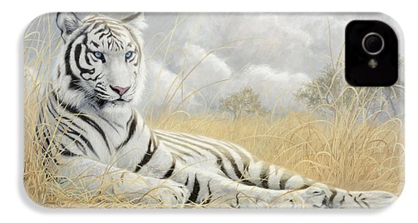 White Tiger IPhone 4s Case by Lucie Bilodeau