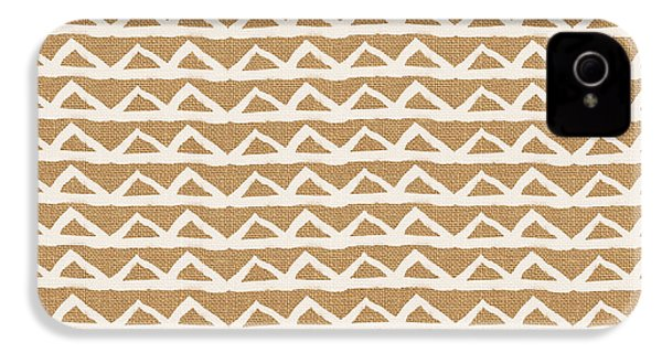 White Triangles On Burlap IPhone 4s Case by Linda Woods