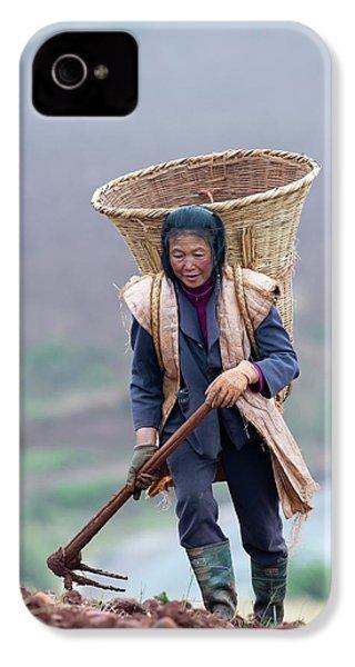 Woman Farm Worker Harvesting Potatoes IPhone 4s Case by Tony Camacho