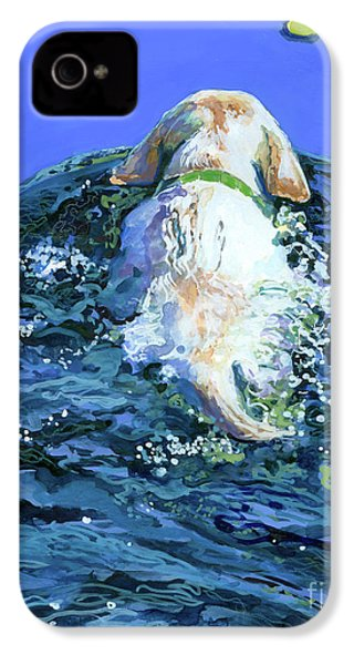 Yellow Lab  Blue Wake IPhone 4s Case by Molly Poole