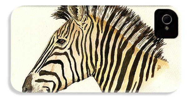 Zebra Head Study IPhone 4s Case by Juan  Bosco