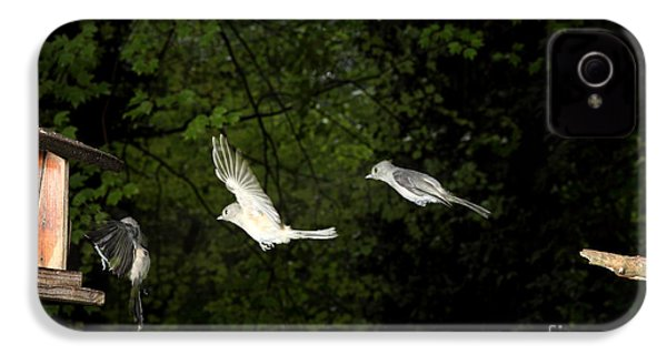 Tufted Titmouse In Flight IPhone 4s Case by Ted Kinsman
