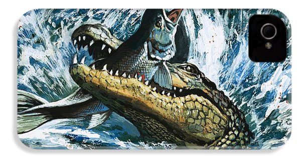 Alligator Eating Fish IPhone 4s Case by English School