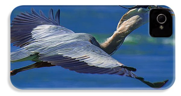 Gliding Great Blue Heron IPhone 4s Case by Sebastian Musial