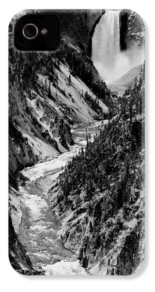Yellowstone Waterfalls In Black And White IPhone 4s Case by Sebastian Musial