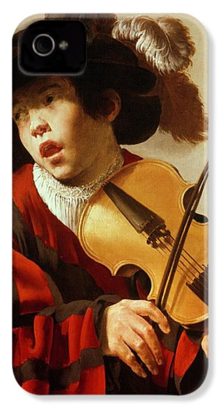 Boy Playing Stringed Instrument And Singing IPhone 4s Case by Hendrick Ter Brugghen