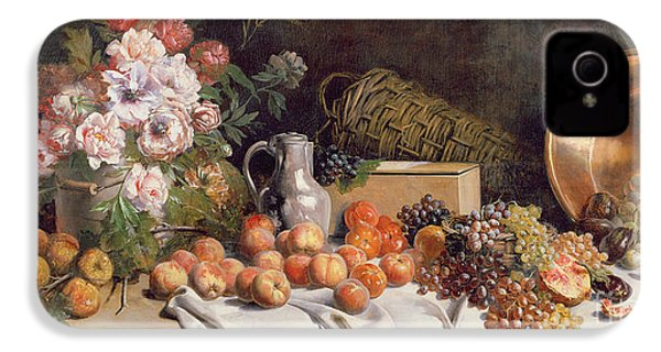 Still Life With Flowers And Fruit On A Table IPhone 4s Case by Alfred Petit