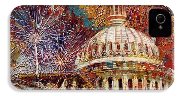 070 United States Capitol Building - Us Independence Day Celebration Fireworks IPhone 4s Case by Maryam Mughal