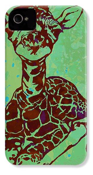 Baby Giraffe - Pop Modern Etching Art Poster IPhone 4s Case by Kim Wang