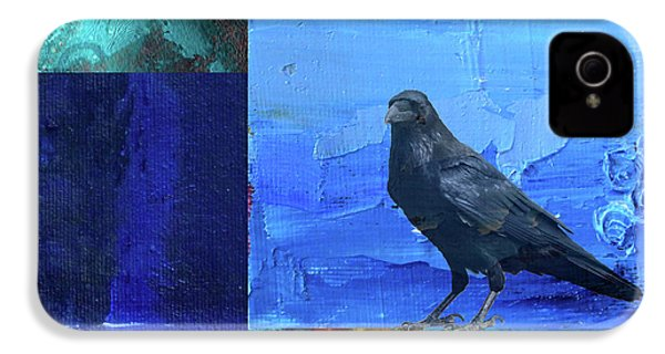 IPhone 4s Case featuring the digital art Blue Raven by Nancy Merkle