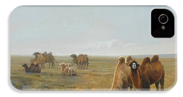 Camels Along The River IPhone 4s Case by Chen Baoyi