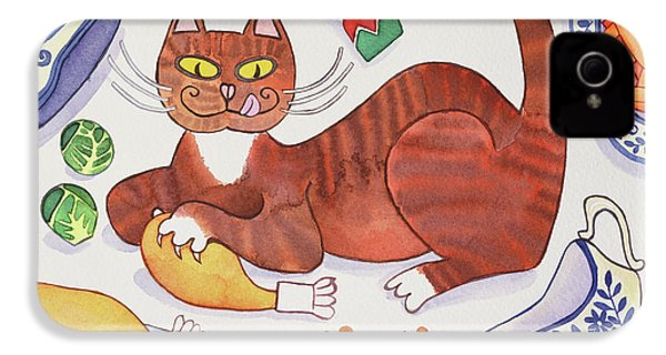 Christmas Cat And The Turkey IPhone 4s Case by Cathy Baxter