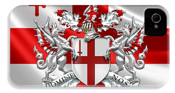 City Of London - Coat Of Arms Over Flag  IPhone 4s Case by Serge Averbukh