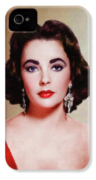 Elizabeth Taylor Hollywood Actress IPhone 4s Case by Mary Bassett