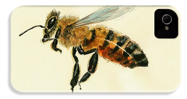 Honey Bee Watercolor Painting IPhone 4s Case by Juan  Bosco