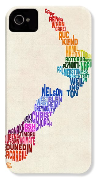 New Zealand Typography Text Map IPhone 4s Case by Michael Tompsett
