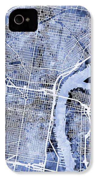Philadelphia Pennsylvania City Street Map IPhone 4s Case by Michael Tompsett