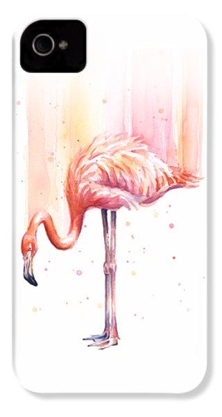 Pink Flamingo Watercolor Rain IPhone 4s Case by Olga Shvartsur