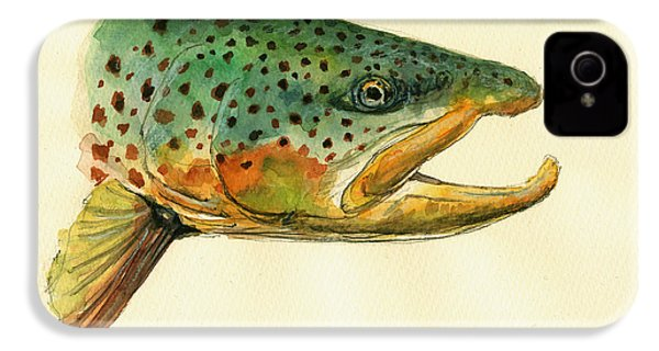 Trout Watercolor Painting IPhone 4s Case by Juan  Bosco