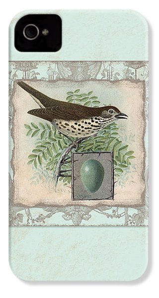 Welcome To Our Nest - Vintage Bird W Egg IPhone 4s Case by Audrey Jeanne Roberts
