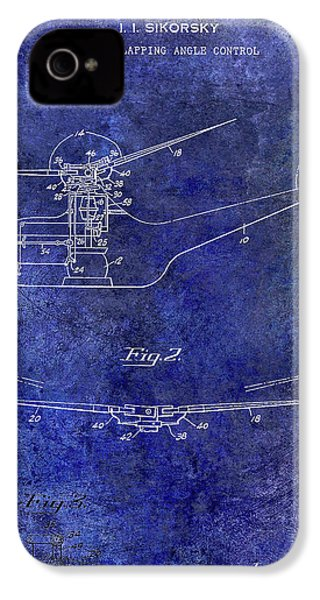 1947 Helicopter Patent Blue IPhone 4s Case by Jon Neidert