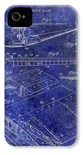1949 Helicopter Patent Blue IPhone 4s Case by Jon Neidert